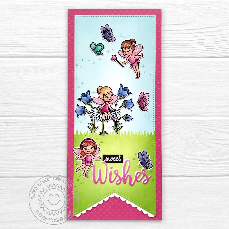 Sunny Studio Sweet Wishes Fairies & Butterflies Slimline Pennant Card (using Garden Fairy 4x6 Clear Stamps)