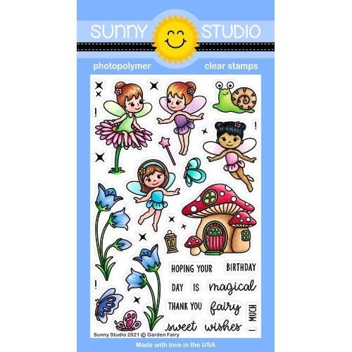 Sunny Studio Stamps Garden Fairy 4x6 Spring Fairies Clear Photopolymer Stamp Set