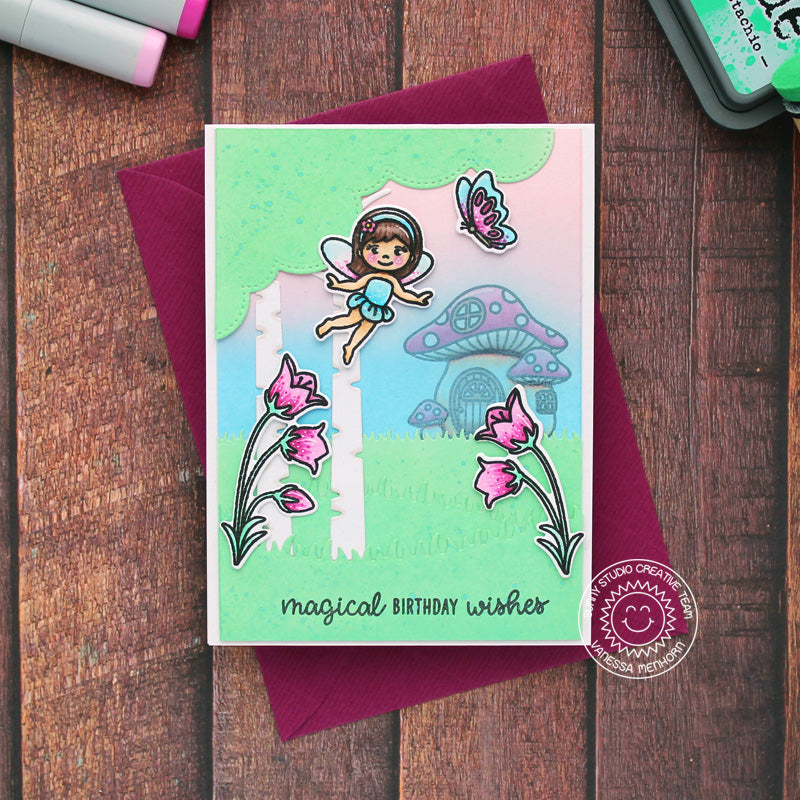 Sunny Studio Magical Birthday Wishes Fairies with Butterfly, Bluebell Flowers & Toadstool House Handmade Card (using Garden Fairy 4x6 Clear Stamps)