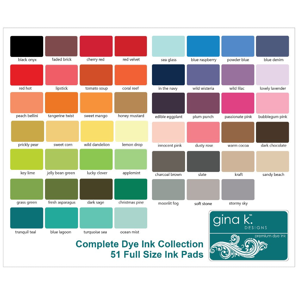 Gina K Designs Premium Dye Ink Pad 51 Color Chart Comparison with Christmas Pine
