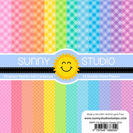 Sunny Studio Gingham Pastels Diagonal Grid 6x6 Patterned Paper Pack with 24 double-sided sheets of 65 lb. Cardstock