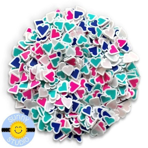 Sunny Studio Pink , Blue & Turquoise Girly Heart Confetti Clay Sprinkles Embellishments for shaker cards