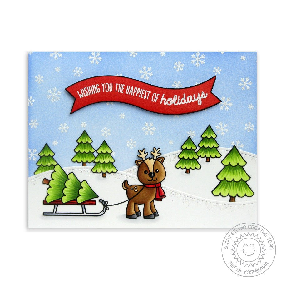 Sunny Studio Stamps Gleeful Reindeer Sled & Christmas Tree Snow Scene Card