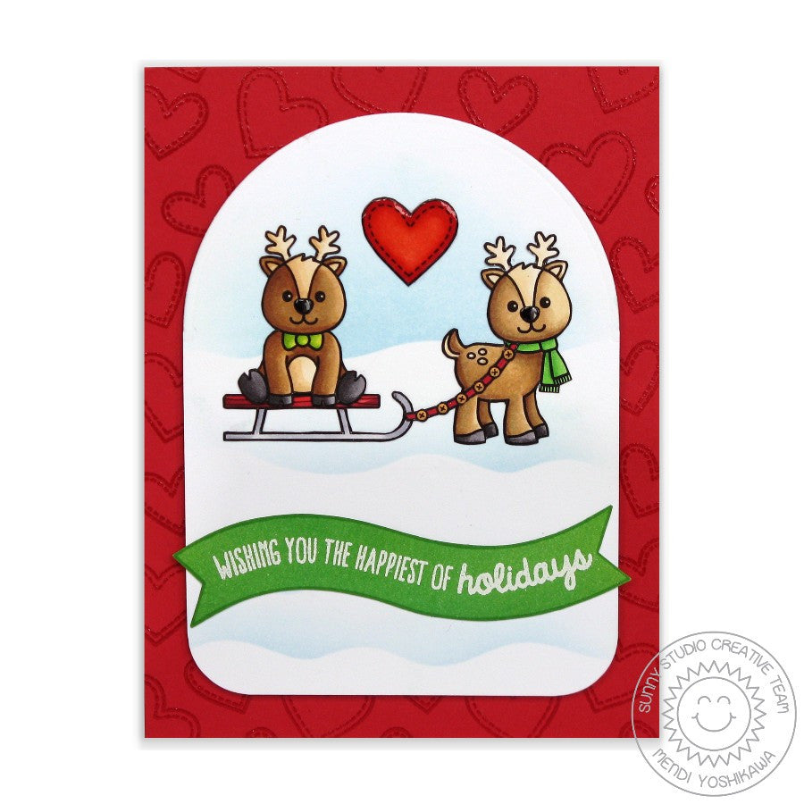 Sunny Studio Stamps Gleeful Reindeer Red Heart Holiday Card