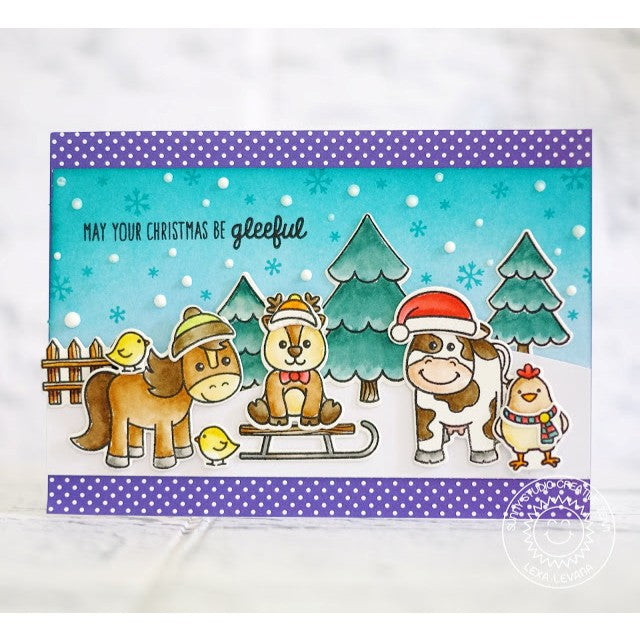 Sunny Studio Stamps Farm Animal Christmas Card using Barnyard Buddies & Gleeful Reindeer