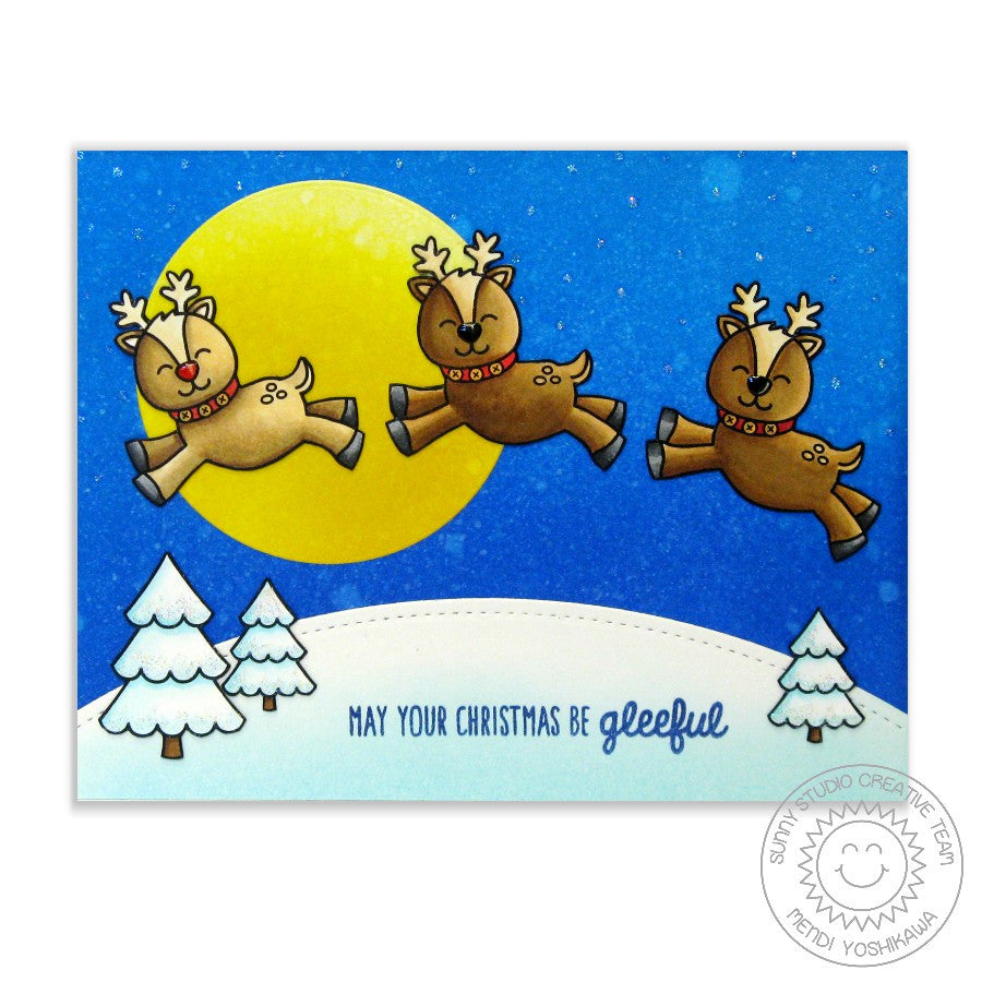 Sunny Studio Stamps Gleeful Reindeer Leaping Reindeer Christmas Eve Card