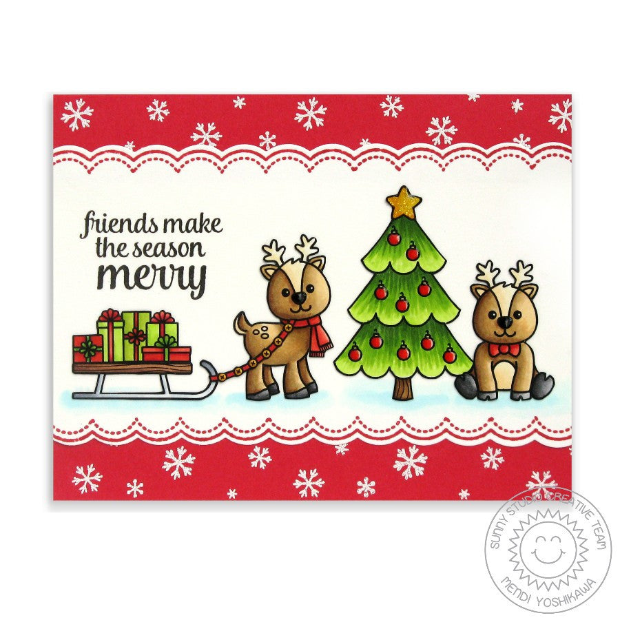 Sunny Studio Stamps Gleeful Reindeer Pulling Sled Christmas Card