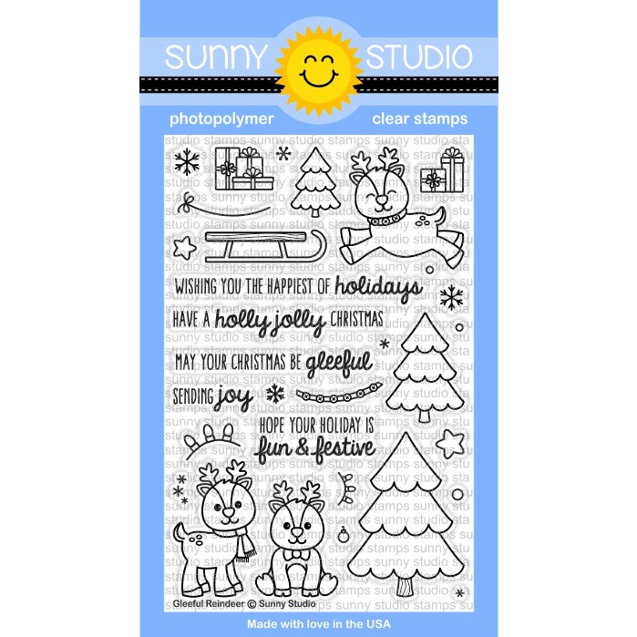Sunny Studio Stamps Gleeful Reindeer 4x6 Christmas Photo-Polymer Clear Stamp Set