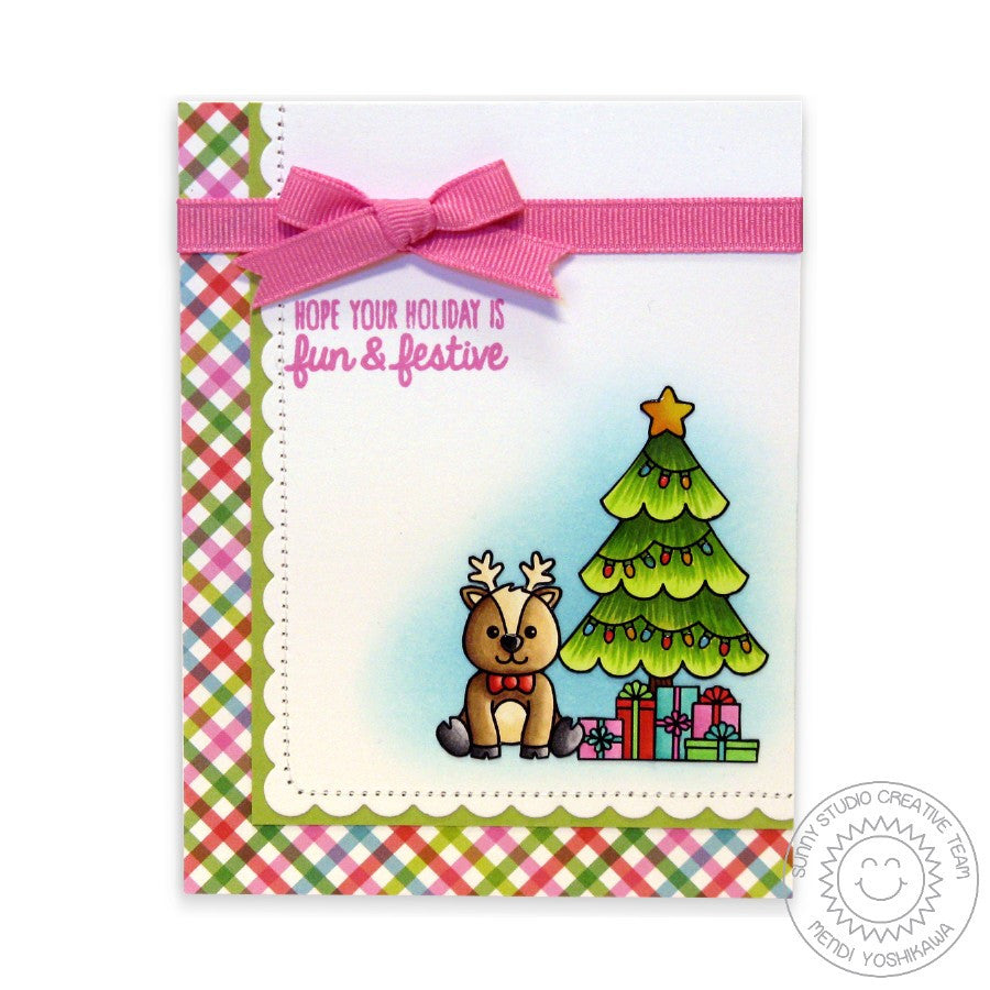 Sunny Studio Stamps Gleeful Reindeer Fun & Festive Christmas Tree Card