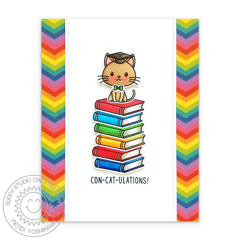 Sunny Studio Stamps Con-cat-ulations Punny Puns Kitty Cat on a stack of Rainbow Books Graduation Card (using Grad Cat 2x3 Clear Photopolymer Stamp Set)