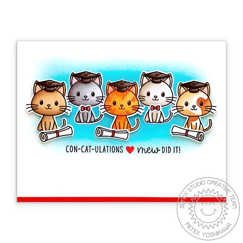Sunny Studio Stamps 5 Kitty Cats Concatulations! Mew Did it! Punny Graduation Puns Handmade Card (Grad Cat 2x3 Photopolymer Clear Stamp Set)