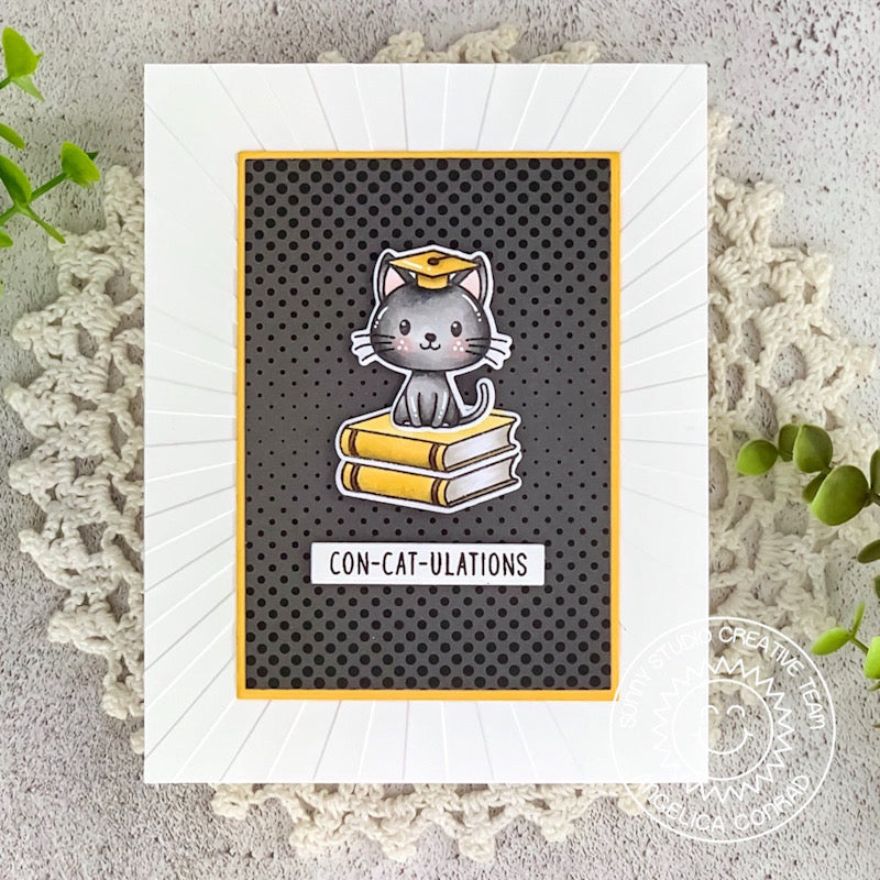 Sunny Studio Stamps Black, White & Yellow Punny Cat Graduation Handmade Card (using Heroic Halftones 6x6 Patterned Paper)