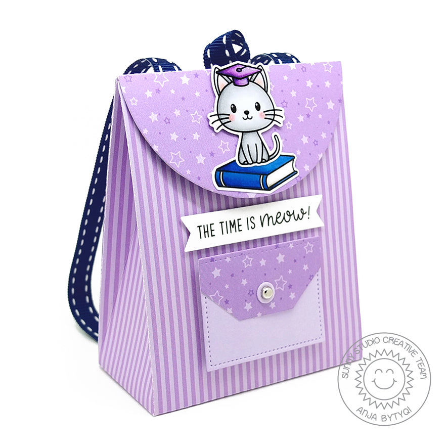 Sunny Studio Stamps Lavender The Time Is Meow Kitty Cat Graduation Handmade Paper Backpack (using Sweet Treats Gift Bag Metal Cutting Dies)