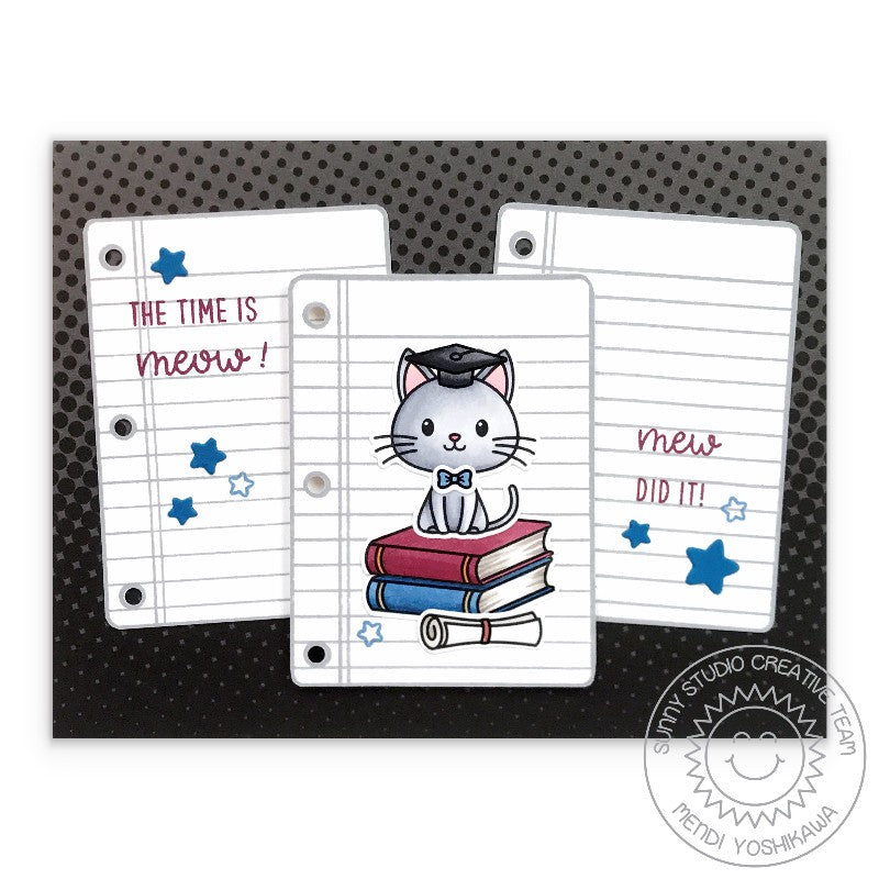 Sunny Studio Stamps The Time is Meow! Mew Did It! Punny Kitty Cat with books and notebook paper Graduation Handmade Card (using Grad Cat 2x3 Clear Photopolymer Stamp Set)