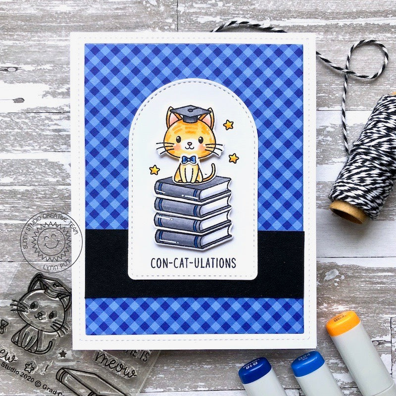 Sunny Studio Con-cat-ulations Punny Cat Themed Graduation Puns Handmade DIY Greeting Card for Graduates (using Stitched Arch Nesting Metal Cutting Dies Set)