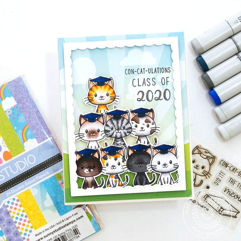 Sunny Studio Stamps Con-cat-ulations Class of 2020 Kitty Pyramid Handmade Graduation Card (using Grad Cat 2x3 Clear Photopolymer Stamp Set)