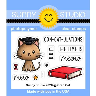 Sunny Studio Stamps Grad Cat Punny Kitty Graduation 2x3 Clear Photopolymer Stamp Set