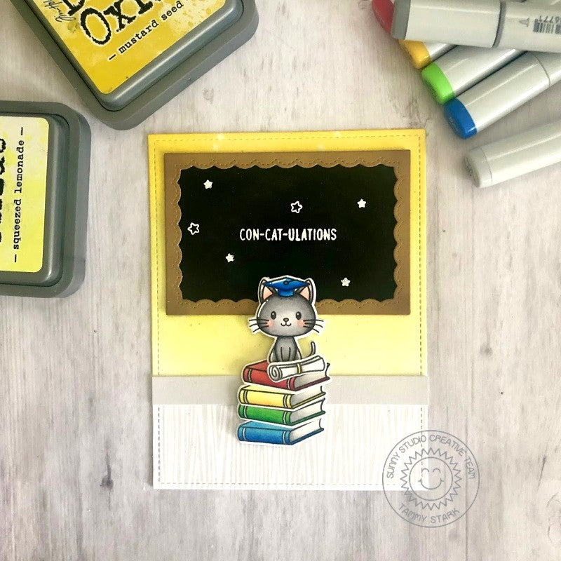 Sunny Studio Stamps Kitty Cat with Chalkboard Graduation Handmade Card (using Grad Cat Mini 2x3 Clear Photopolymer Stamp Set)