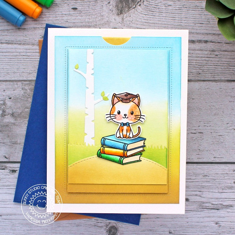 Sunny Studio Stamps Kitty Cat with Spring Birch Tree Handmade Graduation Card (using Grad Cat Mini 2x3 Clear Photopolymer Stamp Set)