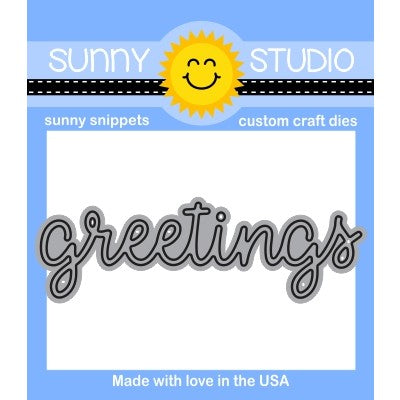 "Sunny Studio Stamps 3"" Greetings Scripty Word Steel Rule Die"