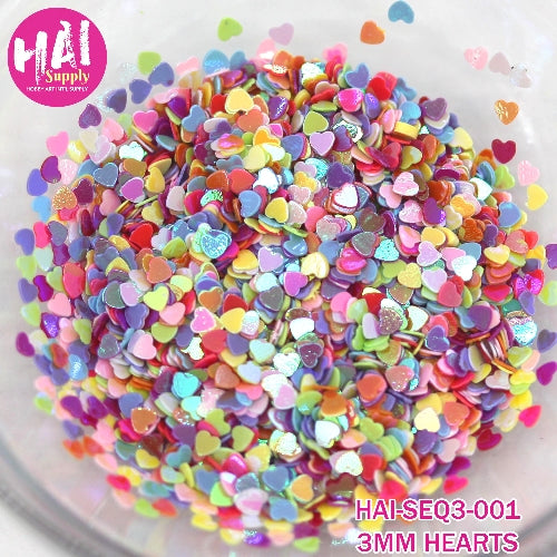 HAI Supply 3mm Iridescent Hearts Colorful Confetti embellishments perfect for shaker cards