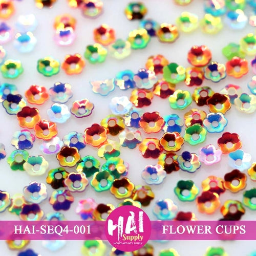 HAI Supply 6mm Iridescent Rainbow Flower Cups Sequins embellishments perfect for shaker cards