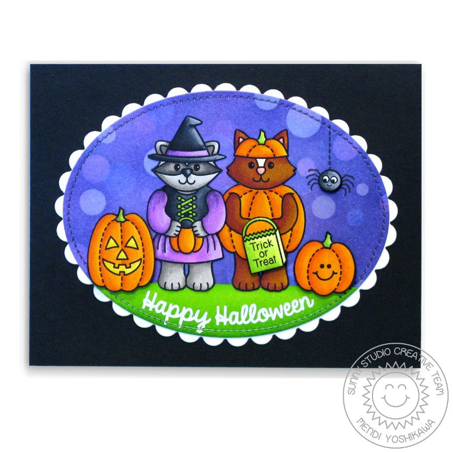 Sunny Studio Stamps Halloween Cuties Critters in Witch & Pumpkin Costumes Card
