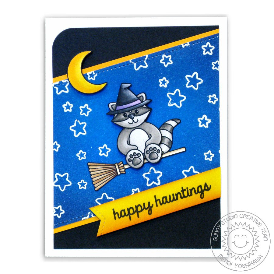 Sunny Studio Stamps Halloween Cuties Happy Hauntings Raccoon Witch on Broomstick Card