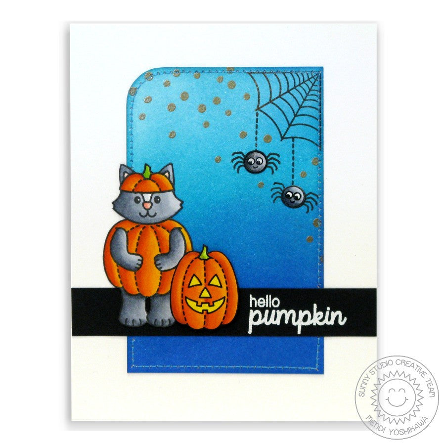 Sunny Studio Stamps Halloween Cuties Hello Pumpkin Spider Web Card