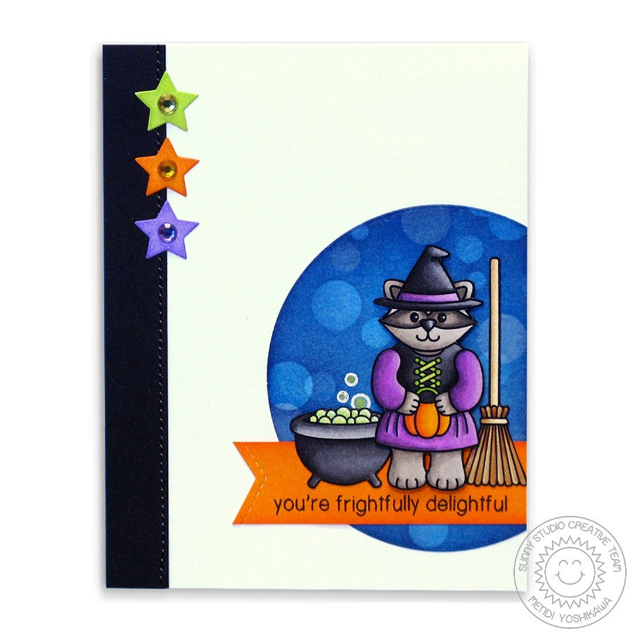 Sunny Studio Stamps Halloween Cuties Racoon Witch With Caldron & Broomstick Card