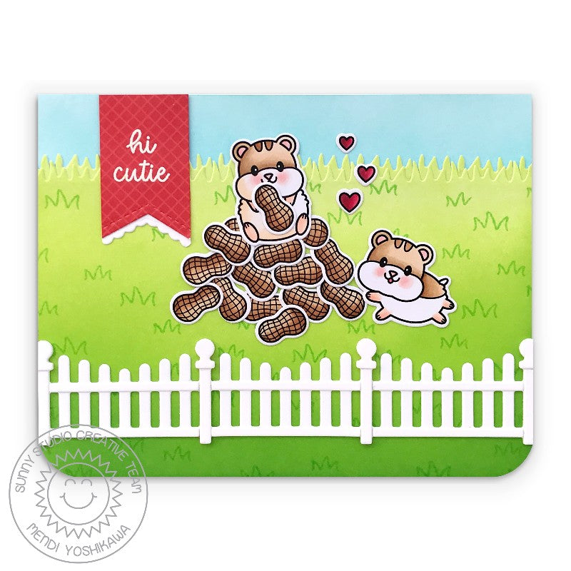 Sunny Studio Stamps Hi Cutie Hamster with Peanuts Pile Handmade Card (using Scalloped Fence Metal Cutting Die)