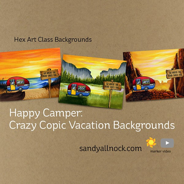 Sunny Studio Stamps Happy Camper Crazy Copic Vacation Backgrounds Cards by Sandy Allnock