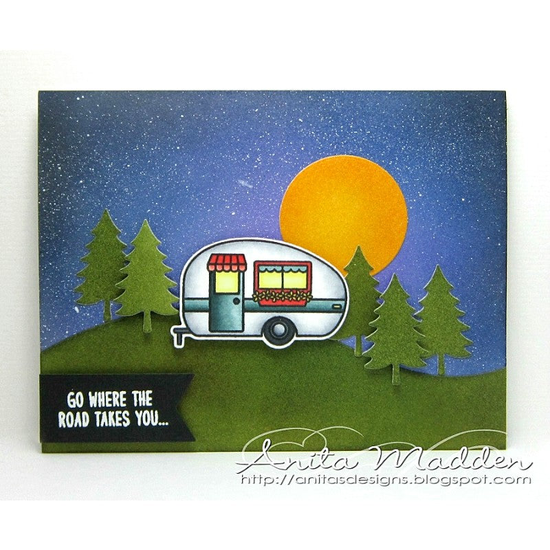 Sunny Studio Stamp Happy Camper Card using bonus fir tree dies