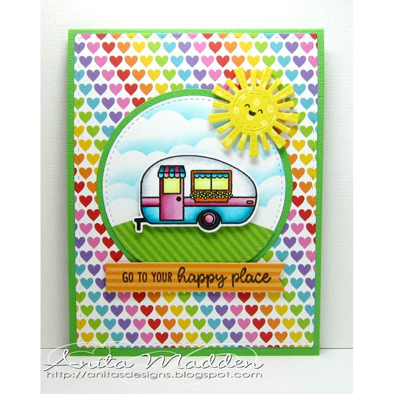 Sunny Studio Stamps Go To Your Happy Place Camper Card using Rainbow Bright 6x6 Patterned Paper Pack