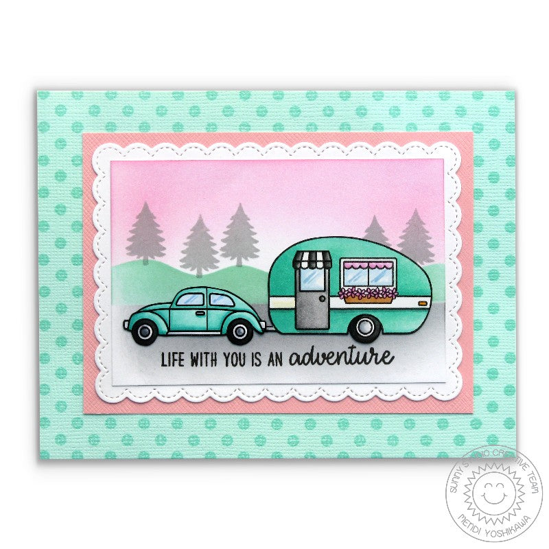 Sunny Studio Retro Aqua Camper Card featuring Background Basics Polka-dot Stamps