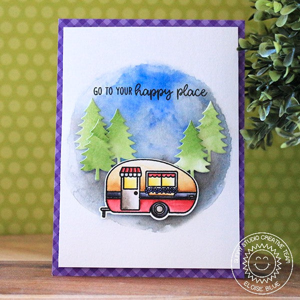 Sunny Studio Watercolor Retro Camper Card featuring Evergreen Fir Trees from Camper Camper Die set