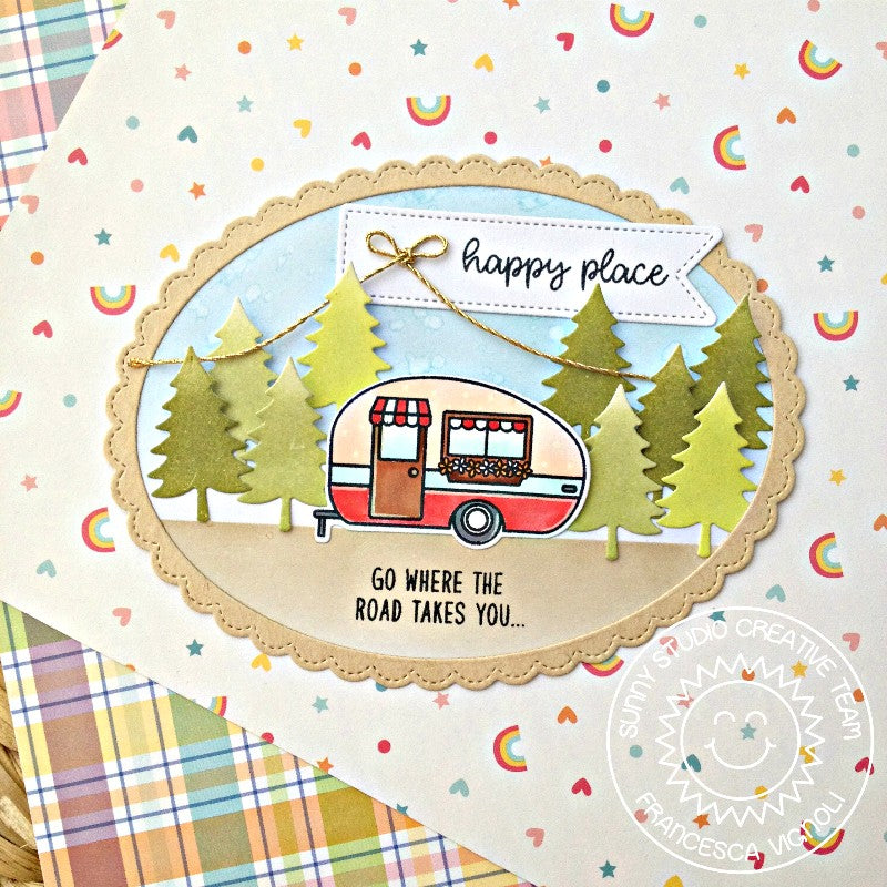 Sunny Studio Stamp Happy Camper Card using bonus evergreen tree dies