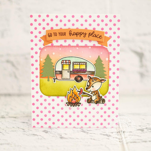 Sunny Studio Stamps Happy Camper Card featuring pink polka-dot background
