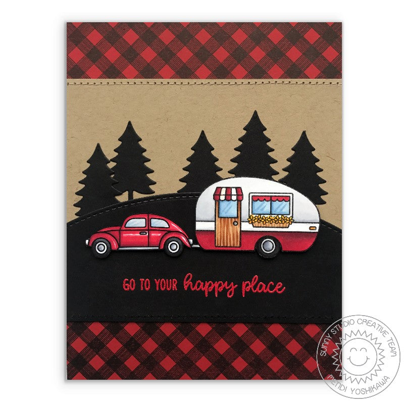 Sunny Studio Stamps Happy Camper Retro Camping Card using Bonus Fir Tree Die