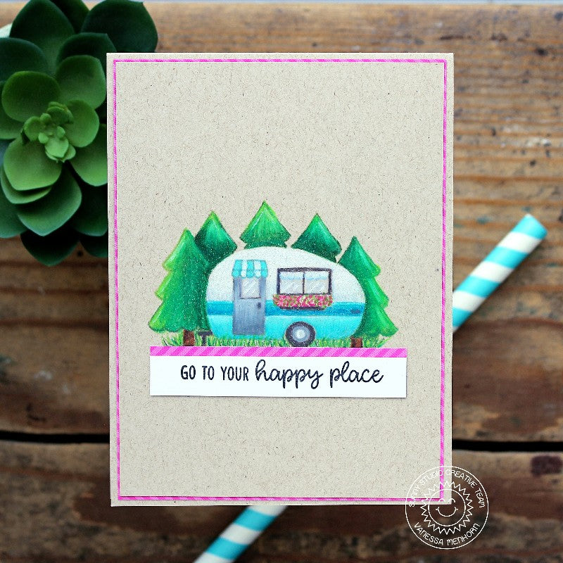 Sunny Studio Stamps Happy Camper Card featuring colored pencils on kraft cardstock