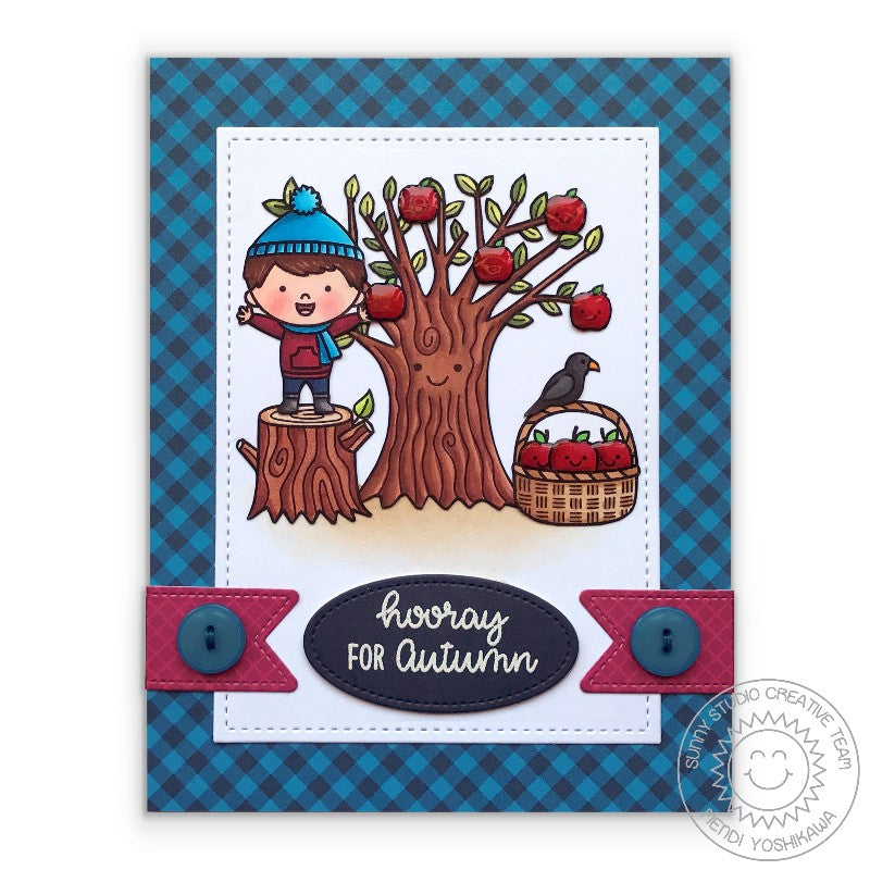 Sunny Studio Stamps Hooray For Autumn Apple Tree Card by Mendi Yoshikawa using 6x6 Gingham Jewel Tones Pattern Paper