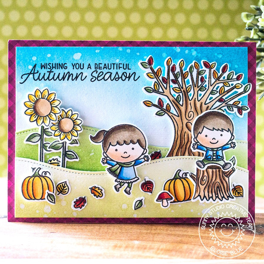 Sunny Studio Stamps Fall Kiddos Card (using Gingham Jewel Tones Burgundy 6x6 Paper)