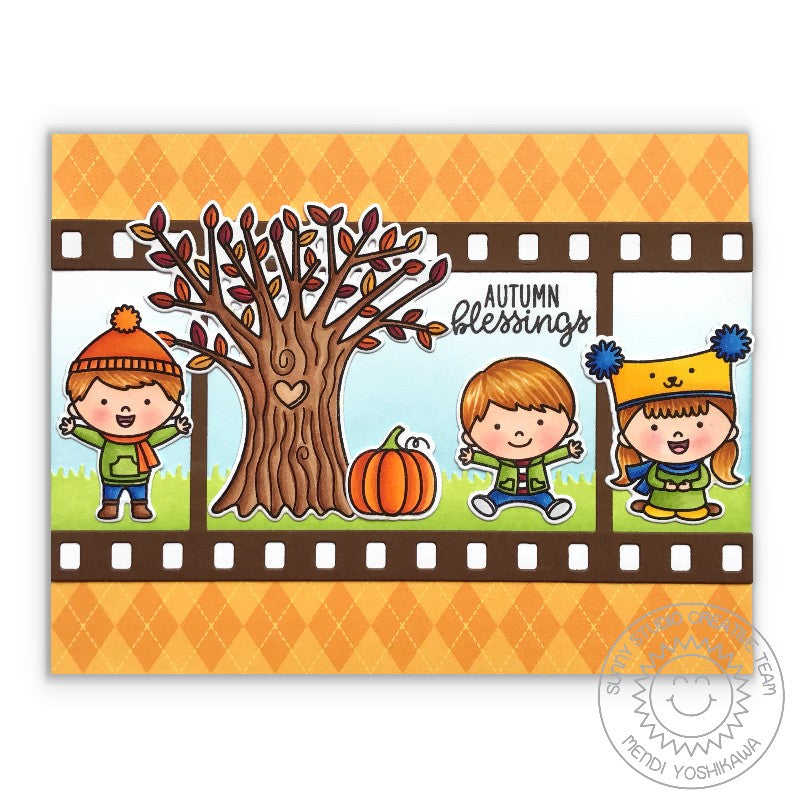 Sunny Studio Stamps Fall Kiddos Kids Playing in the Leaves Card