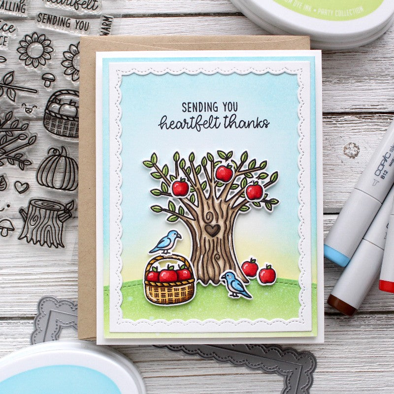 Sunny Studio Happy Harvest Fall Apple Tree Heartfelt Thanks Card