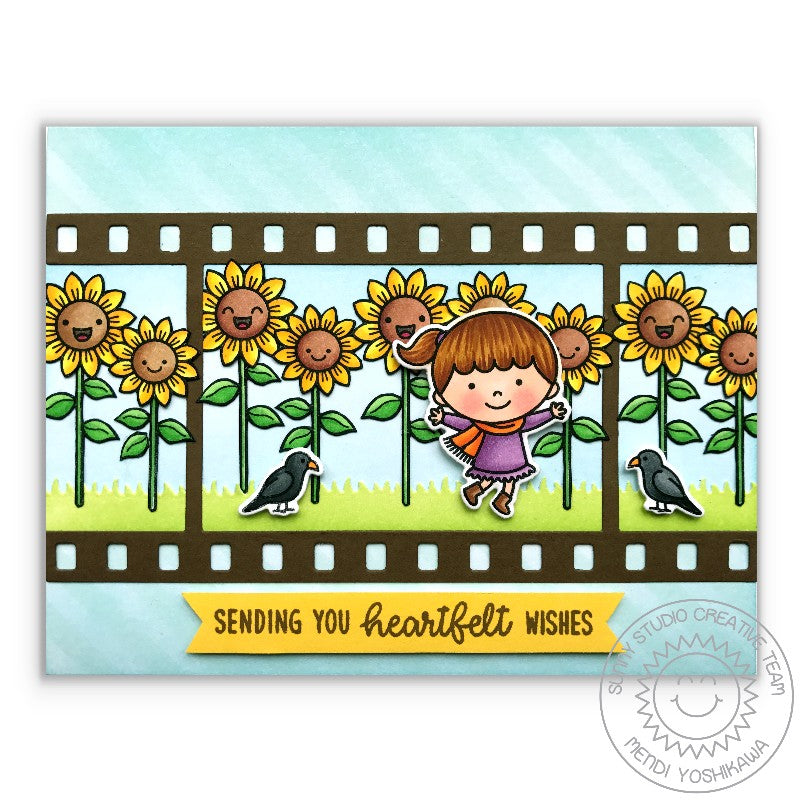 Sunny Studio Stamps Fall Flicks Filmstrip Smiling Sunflower Card by Mendi Yoshikawa