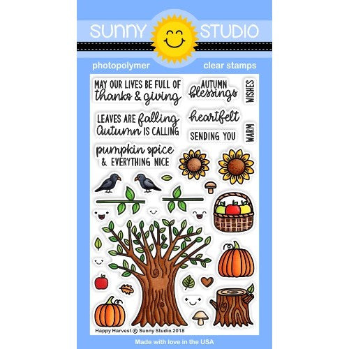 Sunny Studio Stamps Happy Harvest Fall 4x6 Photopolymer Stamps Set with Tree, Sunflowers, Pumpkins & Apples