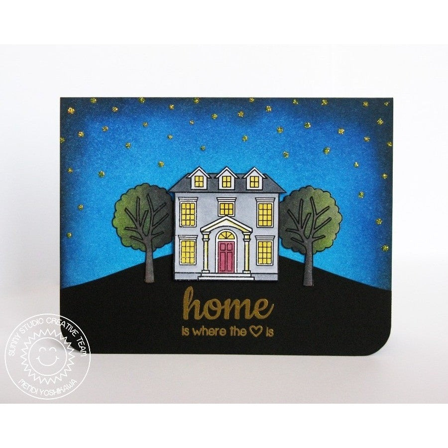 Sunny Studio Stamps Happy Home Colonial Home Is Where Your Heart Is Card