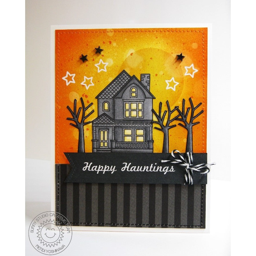 Sunny Studio Stamps Happy Home Haunted Mansion Halloween Card