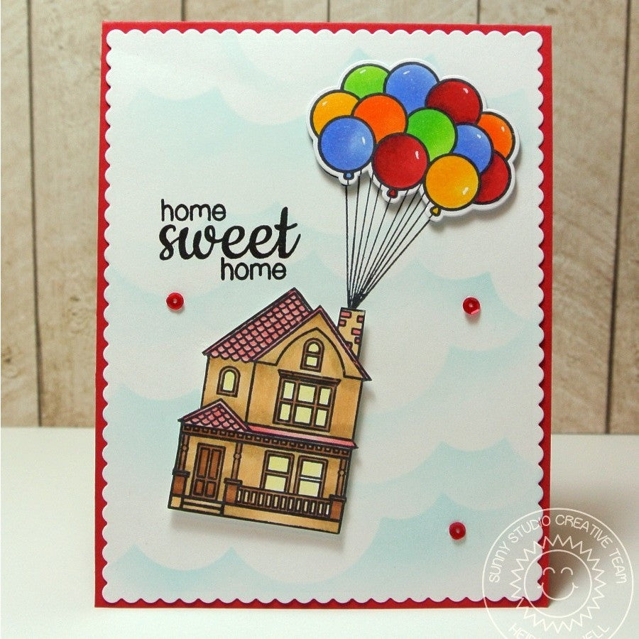 Sunny Studio Stamps Happy Home Up Inspired House with Balloons Card