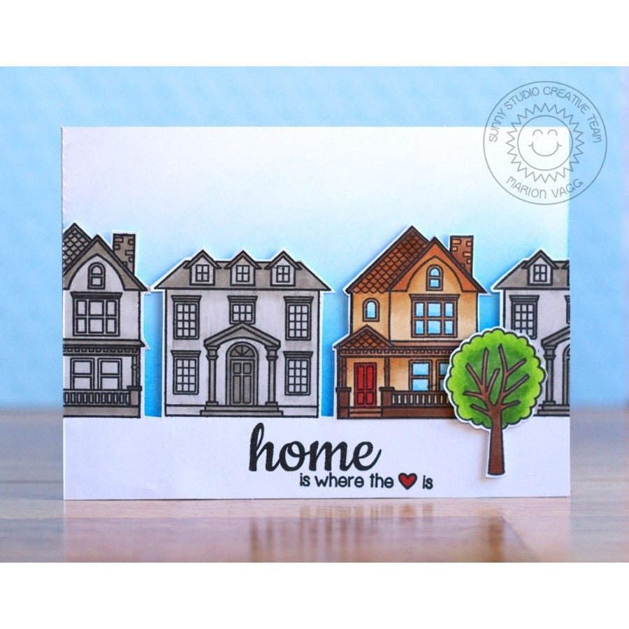 Sunny Studio Stamps Happy Home Neighborhood Houses Card